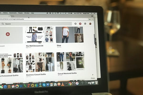 Picture of Laptop showing Wardrobe options on Pinterest Boards