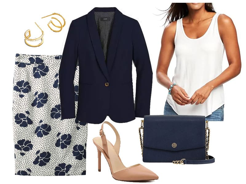 How to Wear a Floral Skirt to Work