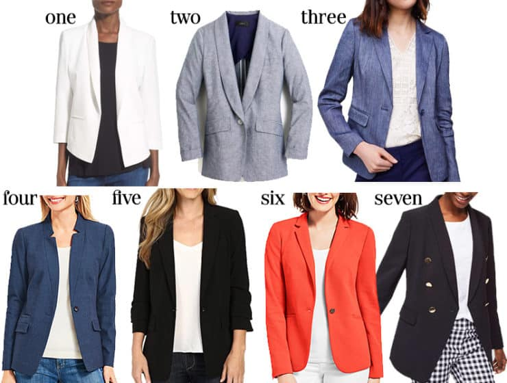 they add some much needed structure to an outfit and really pull together a look, which is especially important for work.  Spring and summer appropriate blazers are tricky.  If you want the best selection of style and price points, now is the time to shop.