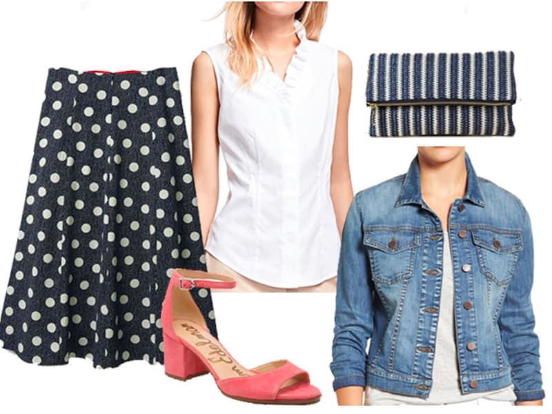 How to Wear a Polka Dot Skirt