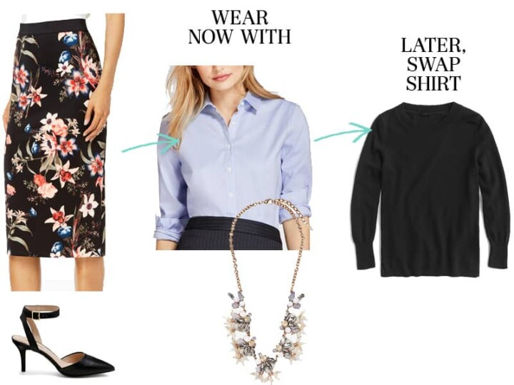 Wear To Work Now and Later - Floral Skirt