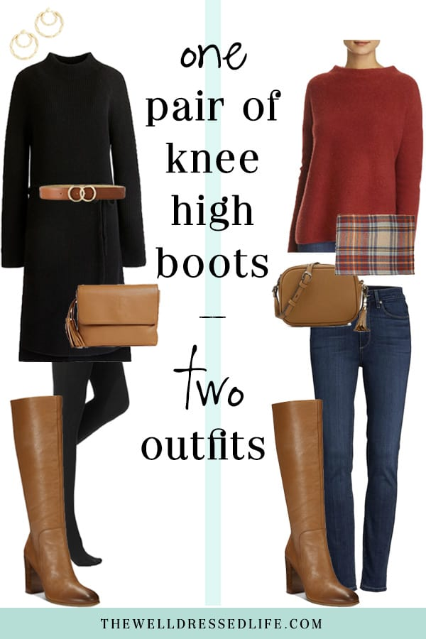 Weekend Outfit Inspiration: Cognac Knee High Boots - The Well Dressed Life