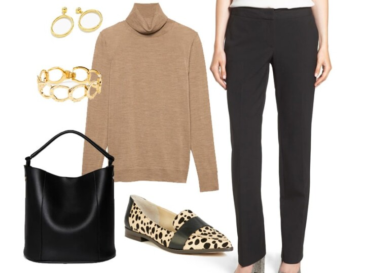 Wear to Work: Classic Black and Tan Combination.