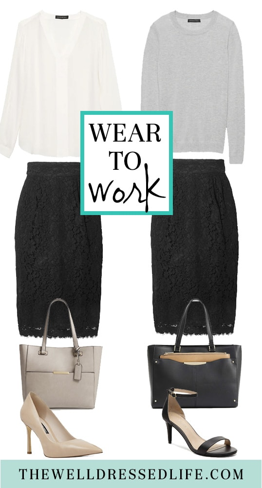 How to Wear a Black Lace Skirt to Work Two Ways