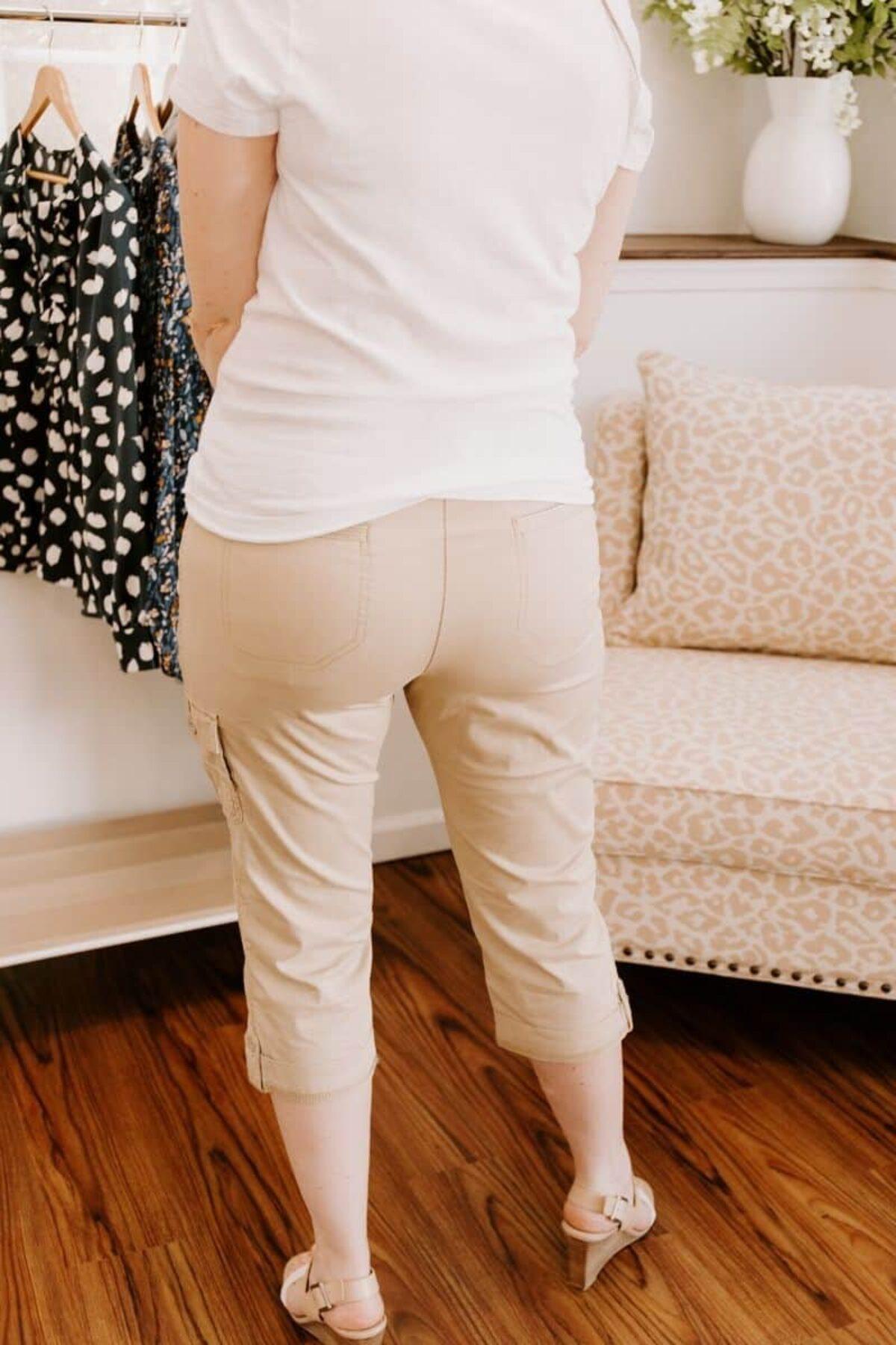 Women/'s Cotton Summer Checkered Capri Pedal Pusher in Knee Length /& Above Knee
