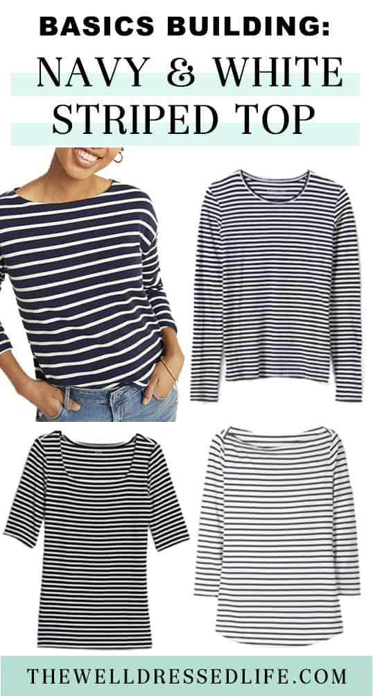 Basics Building: Navy and White Striped Top