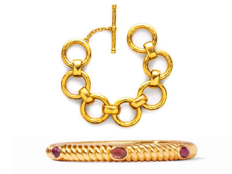 Chain link bracelet and hinged bangle bracelet from Julie Vos