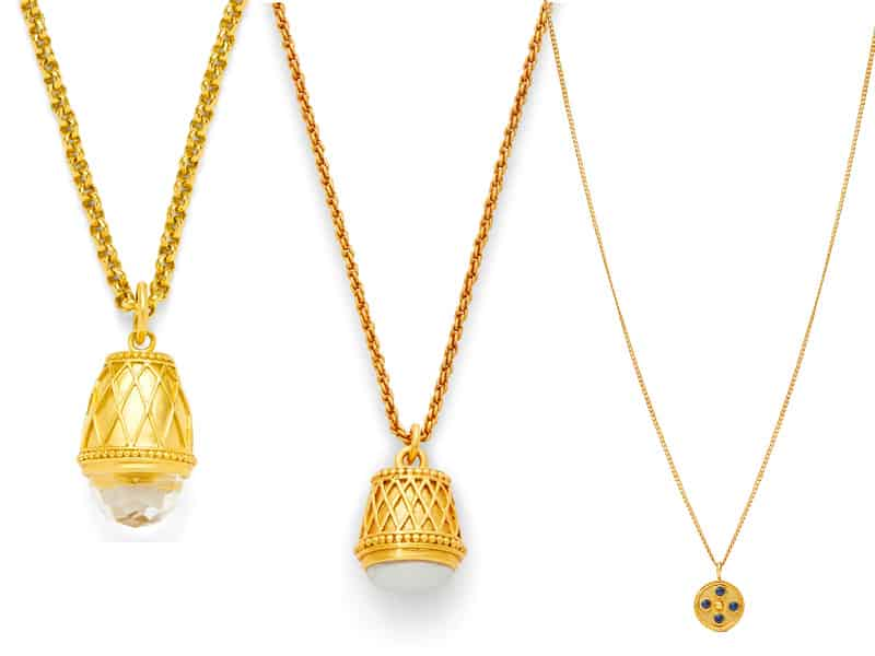 two pendant necklaces and a delicate necklace from Julie Vos