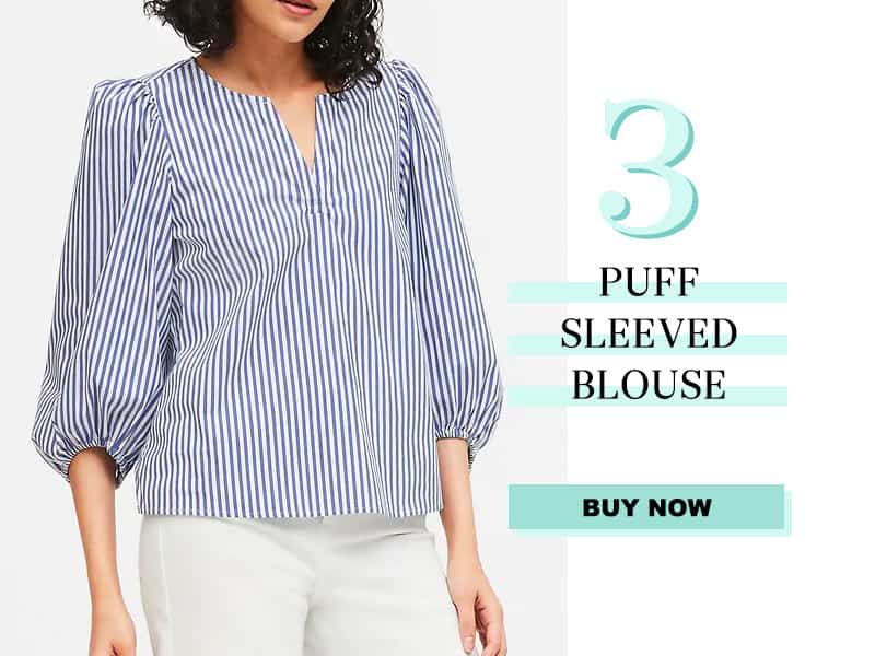 Striped Puffed Sleeve Blouse from Banana Republic