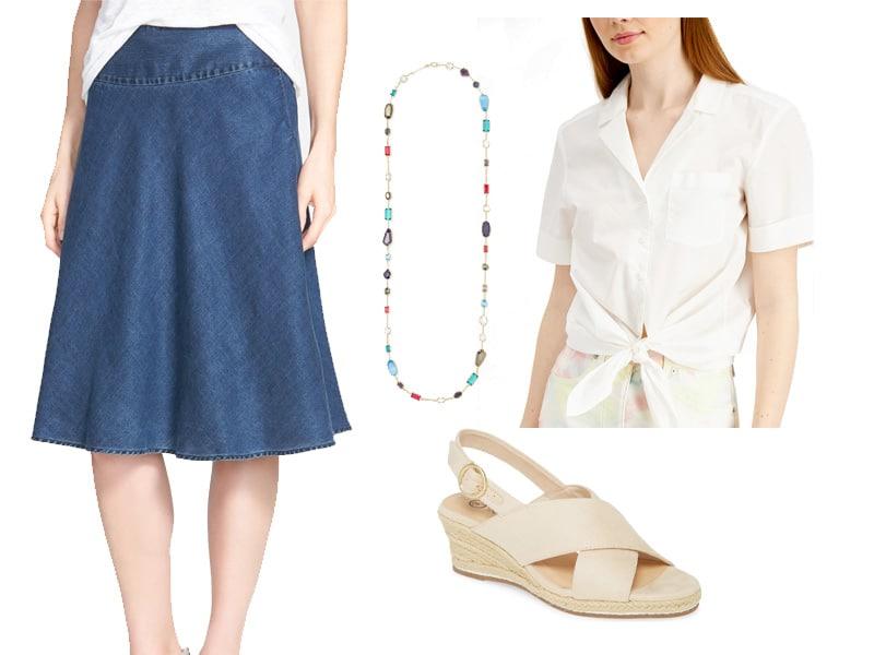 How to Wear a Denim Skirt Two Ways