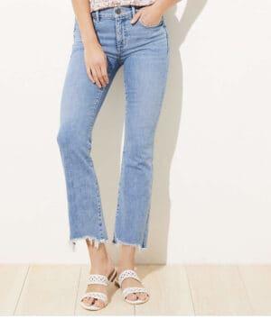 LOFT Destructed High Waist Slim Pocket Flare Crop Jeans In Indigo Wash