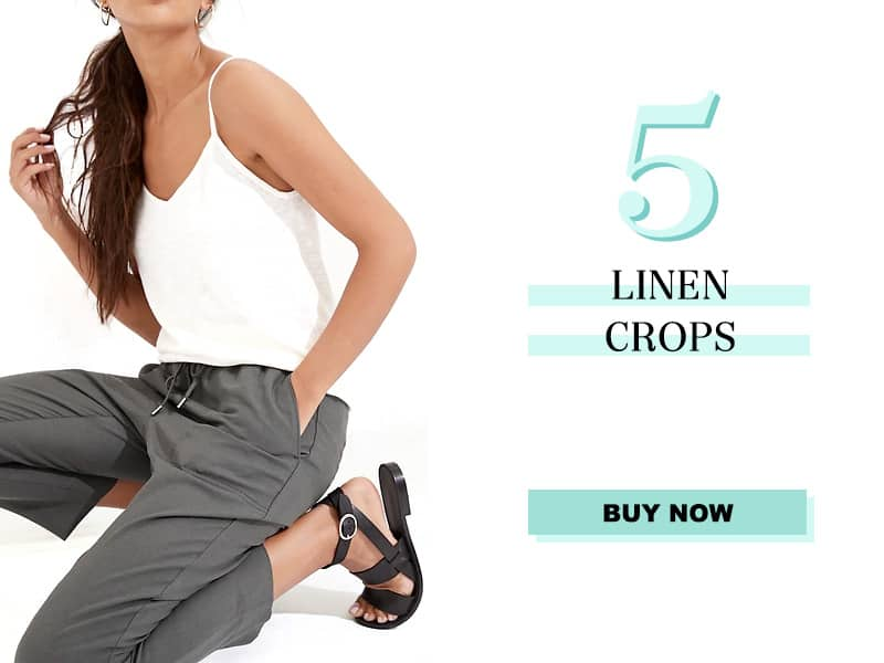 gray linen cropped pants