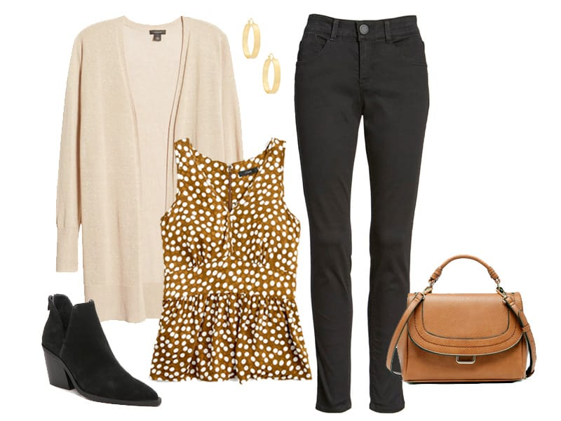 how to wear a polka dot top in the fall