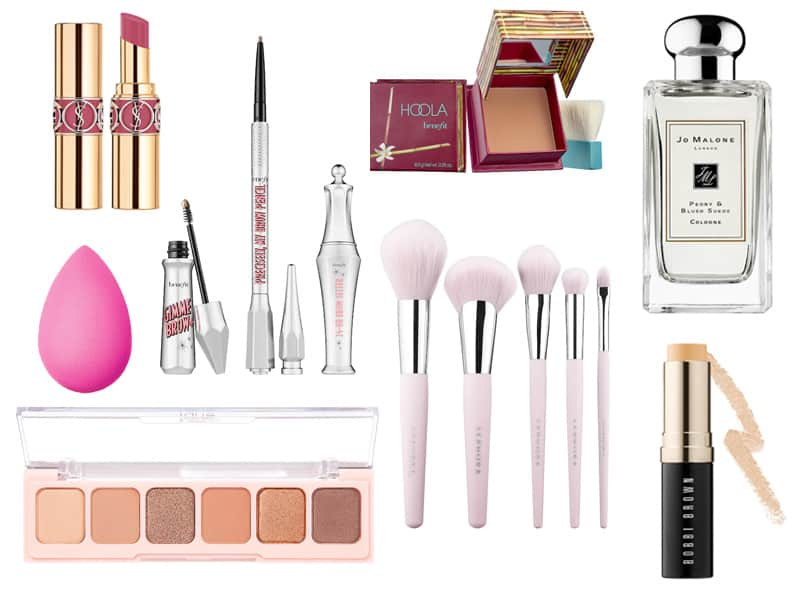 A collection of makeup, fragrance, and tools from Sephora