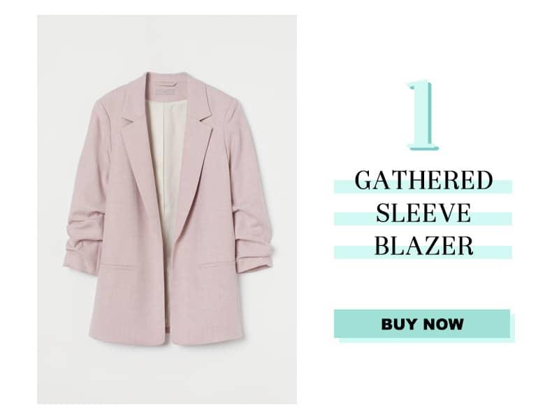 H&M Gathered Sleeve Blazer