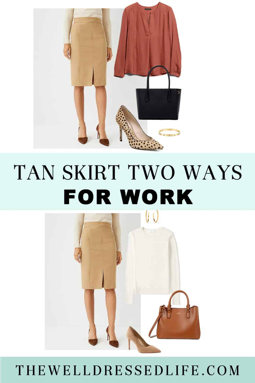 Ann Taylor Tan Skirt Two Ways for Work