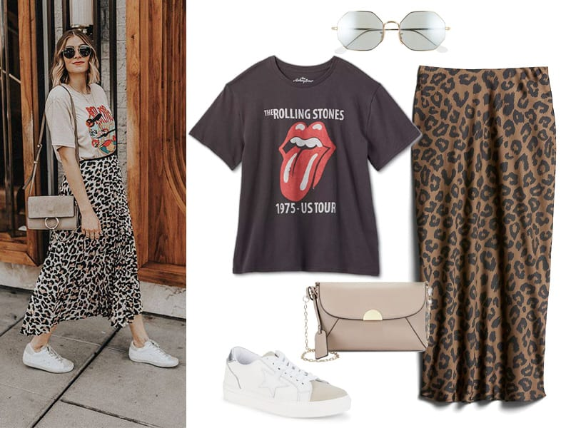 Graphic tee with leopard skirt and white sneakers