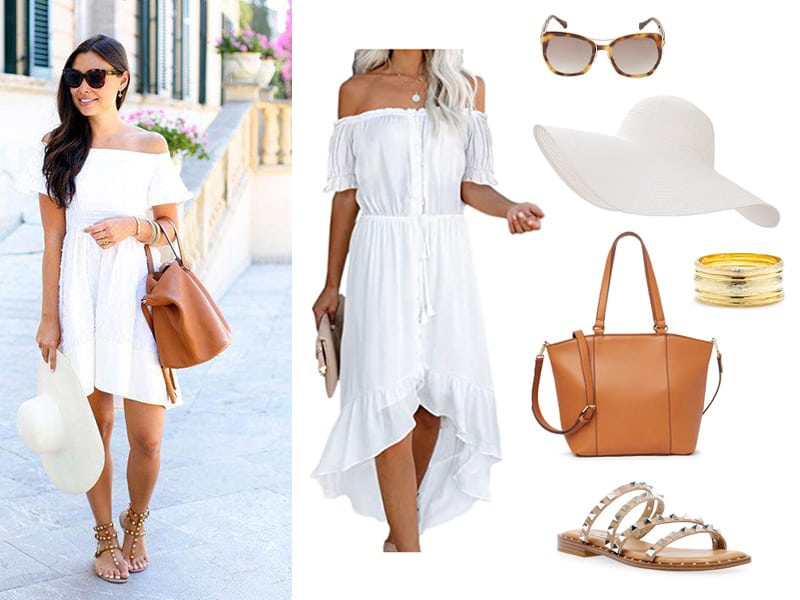 Pinterest Inspiration outfit of a white off teh shoulder dress, tan tote, tan studded sandals, white floppy hat, and gold bangles