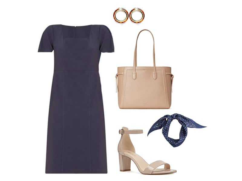 Navy Dress, Tan leather bag, Tan ankle strap sandals, navy polka dot scarf, and resin hoop earrings