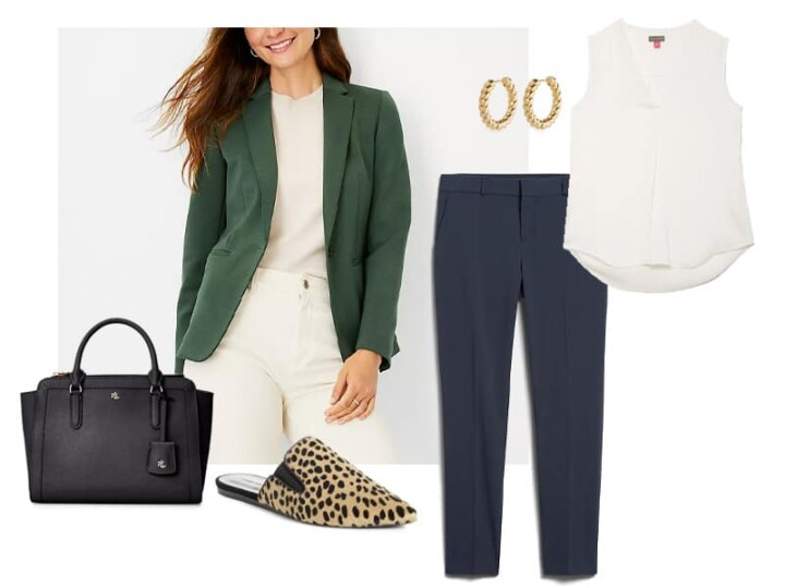 green knit blazer, navy straight fit pants, gold hoops, black leather satchel, ivory shell, and calf hair mules