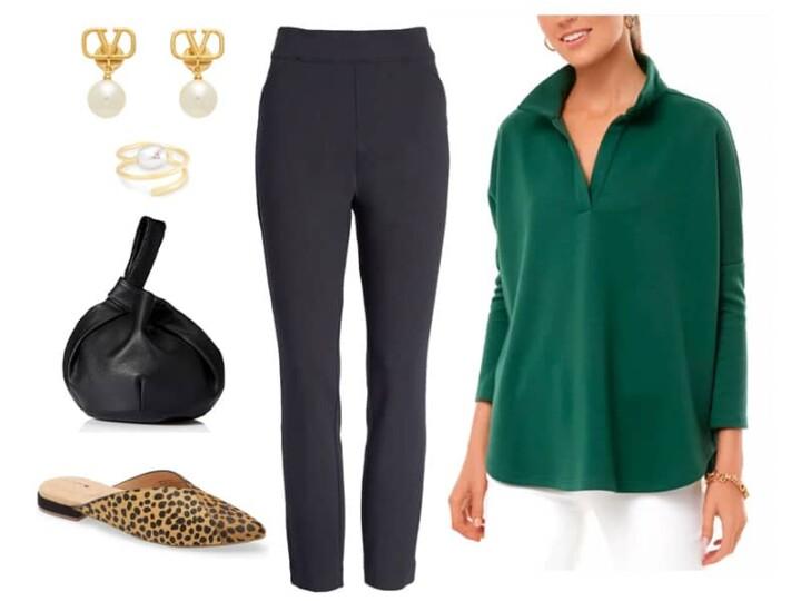 Green Polo Sweatshirt with Black skinny pants, calf hair mules, black small bag, pearl drop earrings, and a pearl ring