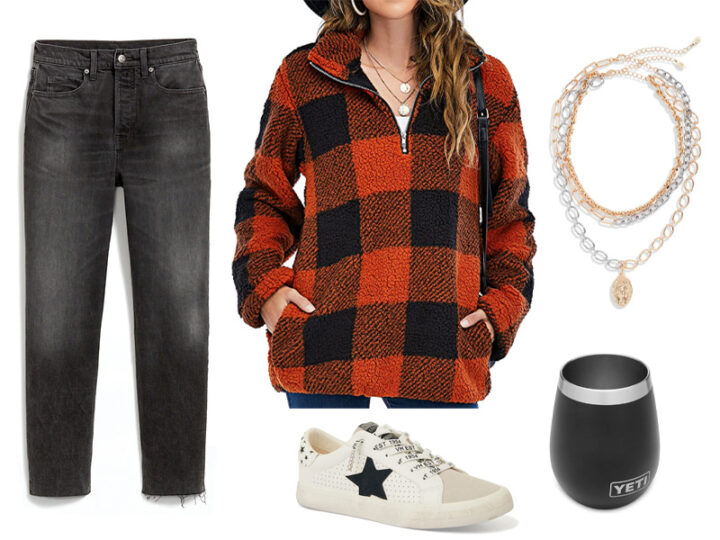 Black jeans, red and black plaid sherpa sweatshirt, sneakers with black star, black yeti wine tumbler, and gold and silver layered chain necklace