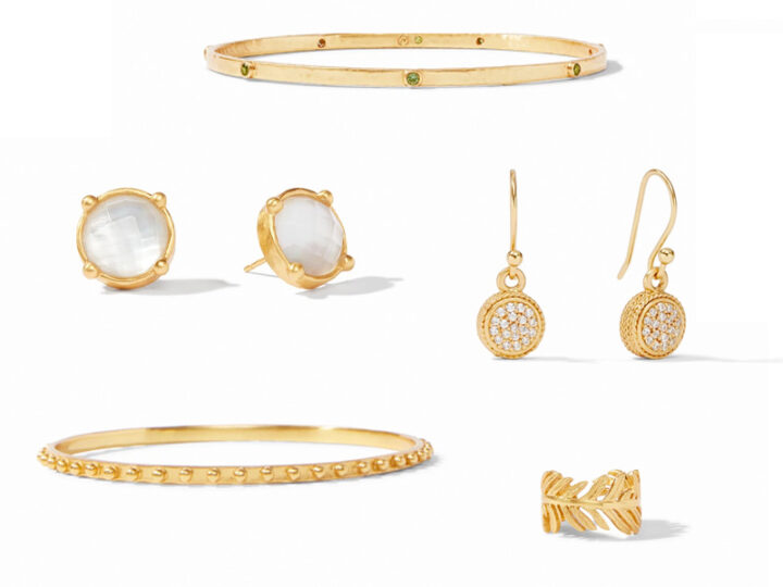 Gold jewelry from Julie Vos: two bangles, two earrings, and a reng